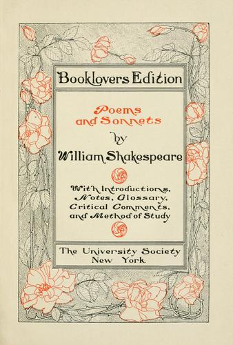 1910 Shakespeare Poems title page